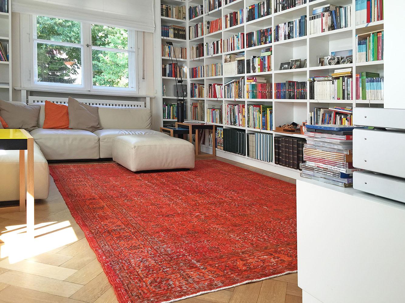 Vintage-rot-Bibliothek
